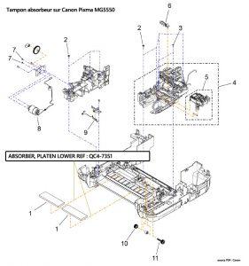 vue explosée erreur B200 tampon MG5550
