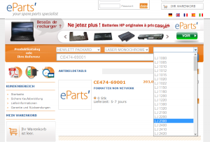 eparts.fr search spare parts combo