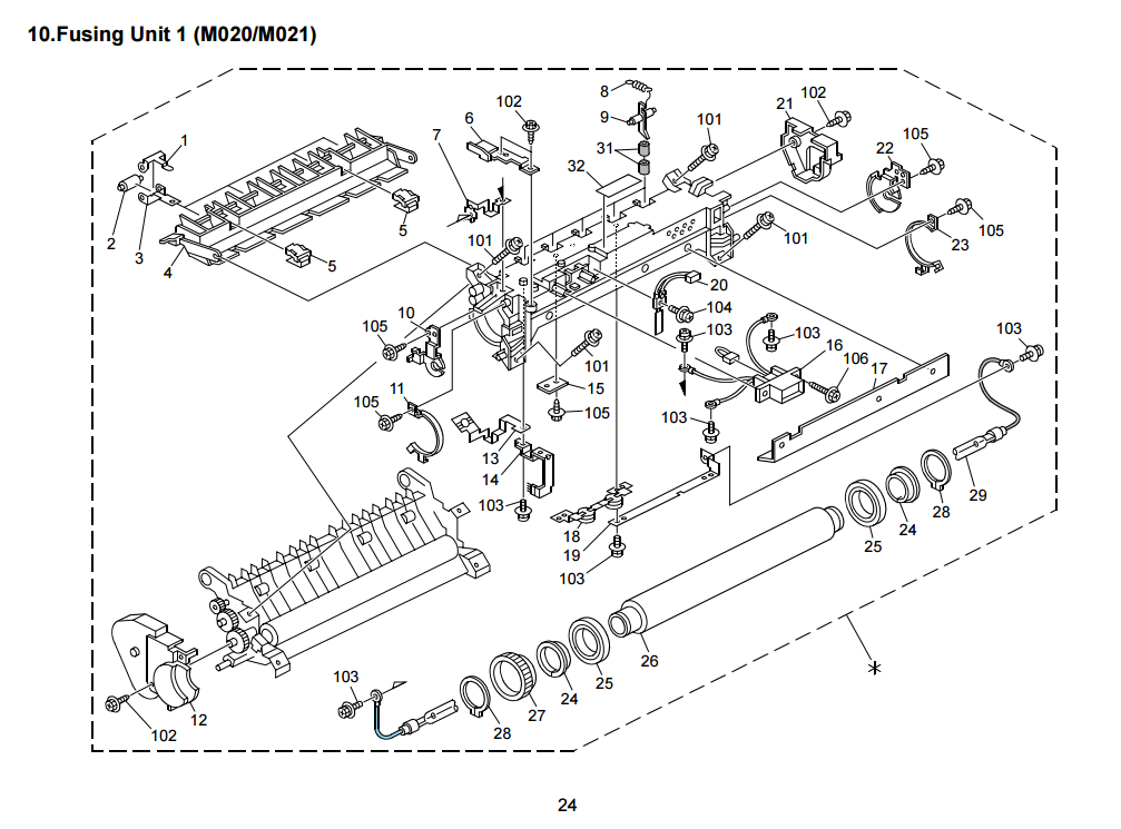 exploded view fuser SP5200 Aficio Ricoh